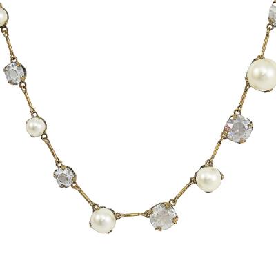 Christian Dior 珠珠水鑽造型鎖骨鍊(金)