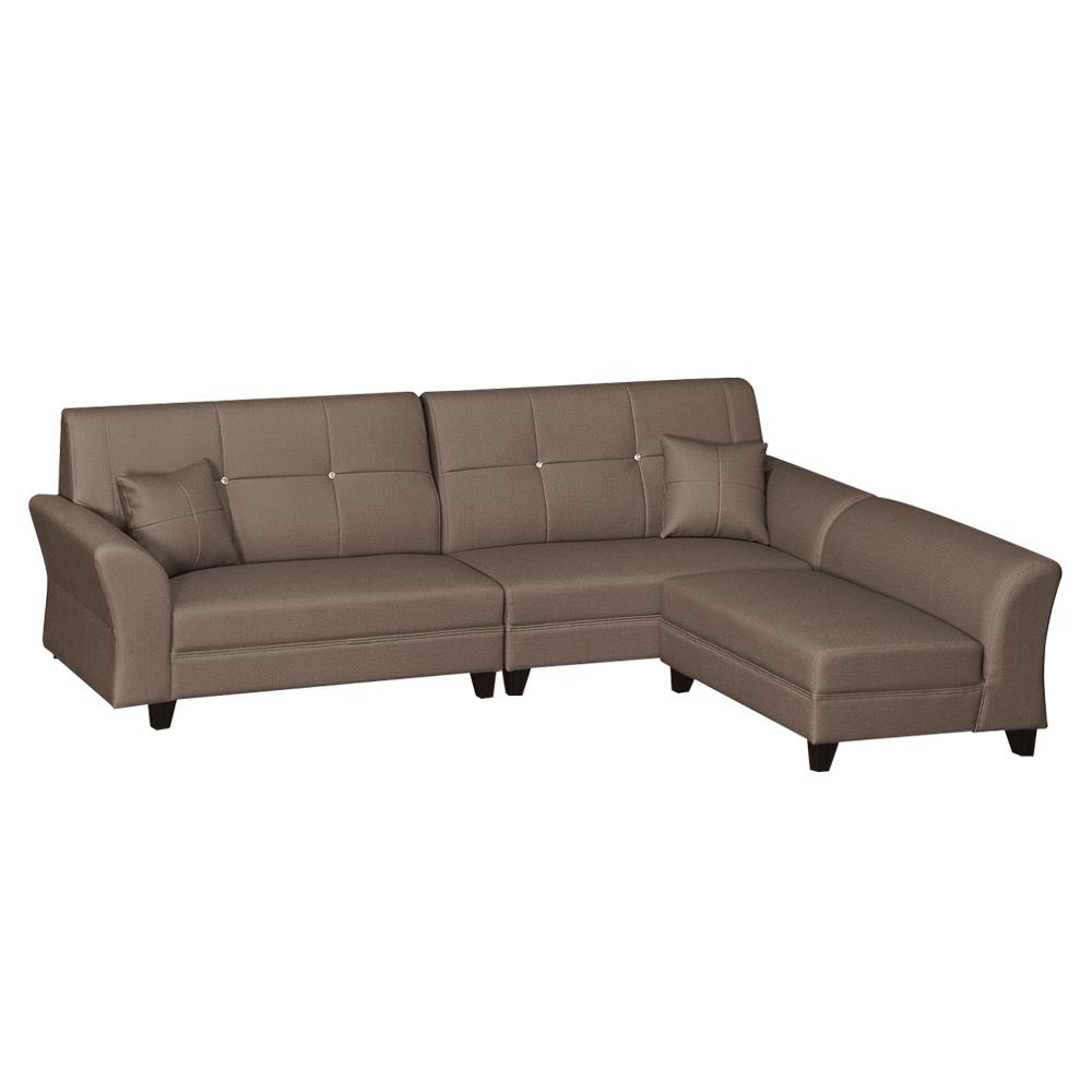 綠活居 雷凱時尚咖耐磨皮革L型沙發組合(四人座+椅凳)-250x170x105cm免組