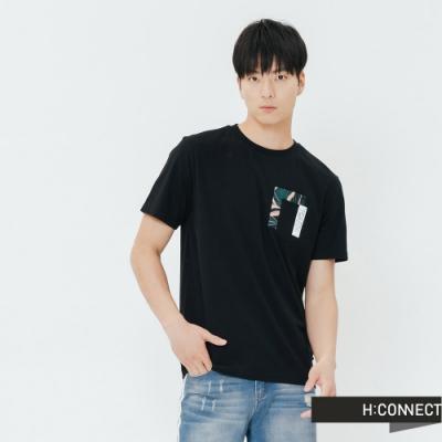 H:CONNECT 韓國品牌 男裝-拼貼印花口袋T-shirt-黑