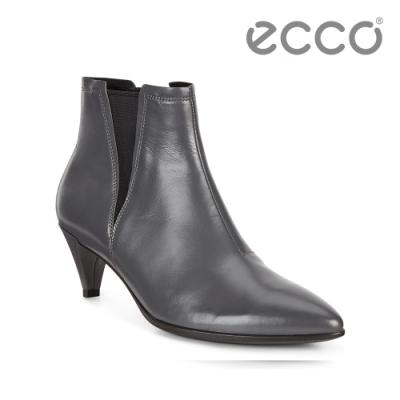 ECCO SHAPE 45 POINTY SLEEK 率性尖頭小牛皮高跟短靴 女 深灰色