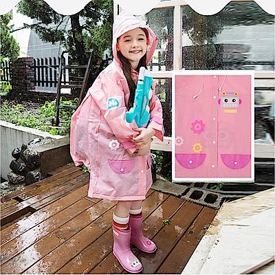 半島良品 可愛機器人帶反光條兒童雨衣-粉色L
