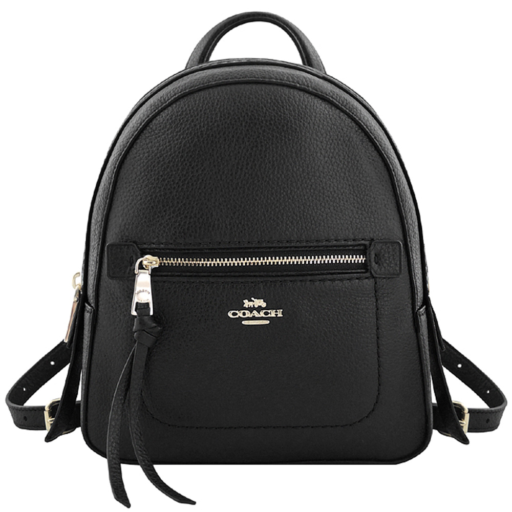 COACH 黑色荔枝紋皮革斜背/後背兩用包