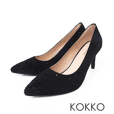 KOKKO - 典雅花樣尖頭璀璨高跟鞋- 霧面黑
