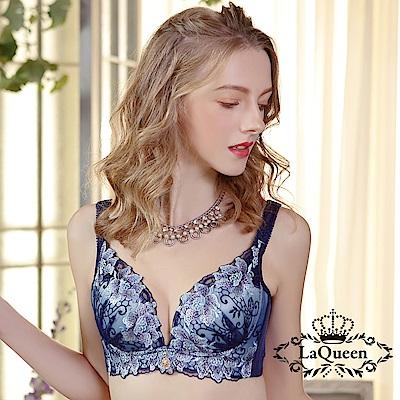 內衣 高貴優雅刺繡無鋼圈好運成套內衣-藍 La Queen