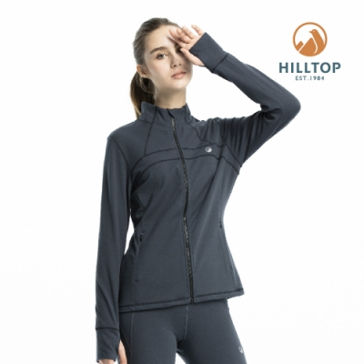 【hilltop山頂鳥】女款ZISOFIT保暖吸濕快乾刷毛外套H22FW0深灰色