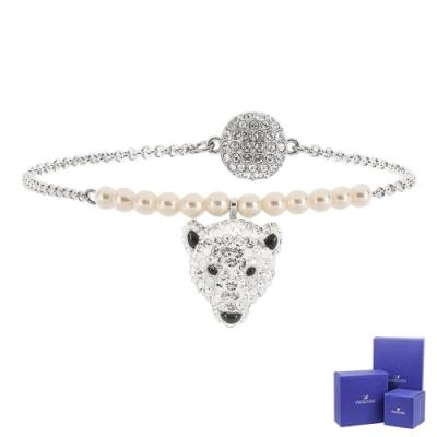 SWAROVSKI 施華洛世奇 Polar Bestiary璀璨水晶北極熊造型銀色磁扣手環手鍊