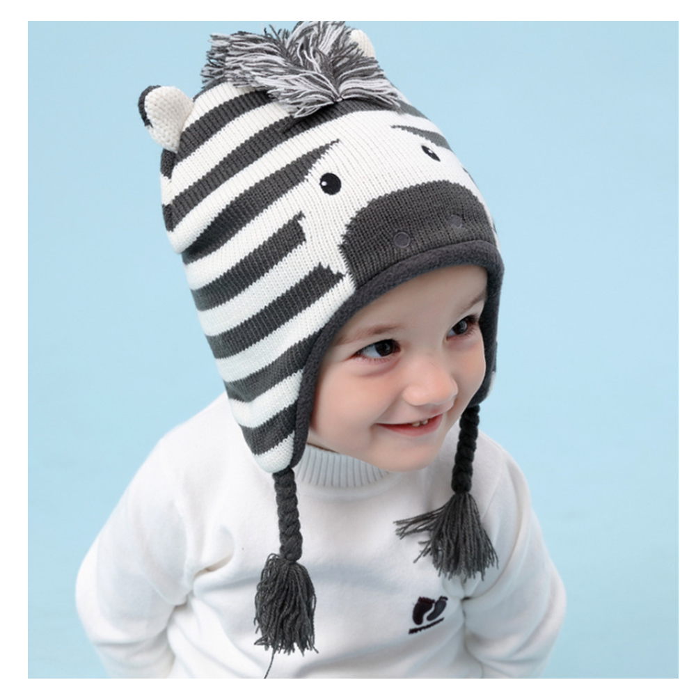 (kidwowo)歐美鬃毛斑馬秋冬保暖童帽