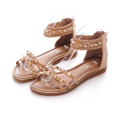 JMS-民族風編織鉚釘細帶交叉環裸羅馬涼鞋-棕色
