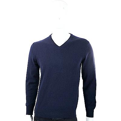Andre Maurice 喀什米爾藏青色V領羅紋細節羊毛衫(男款)