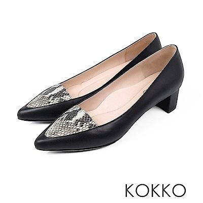 KOKKO - 法式優雅尖頭蛇紋粗跟鞋 -  經典黑