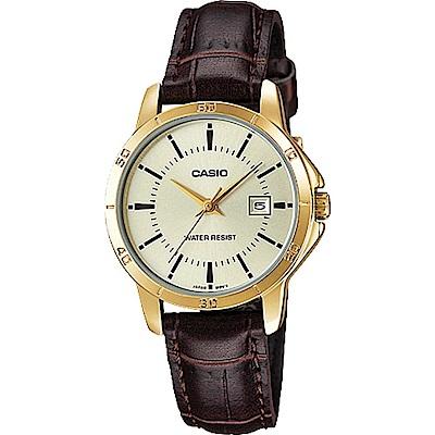 CASIO時尚經典羅馬指針日曆皮帶錶(LTP-V004GL-9A)黃面X金框/28.2mm