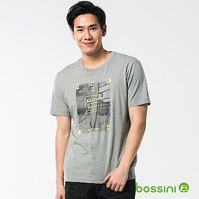 bossini男裝-印花短袖T恤51淺灰