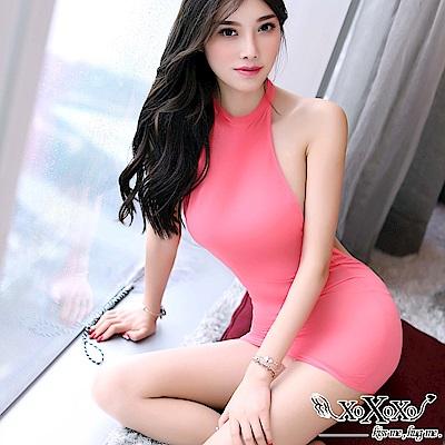 情趣睡衣 性感女神削肩露背連身裙 玫紅粉 XOXOXO