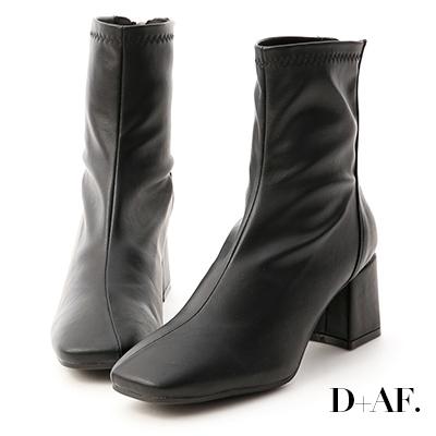 D+AF 好感話題.素面斜線方頭高跟襪靴*黑