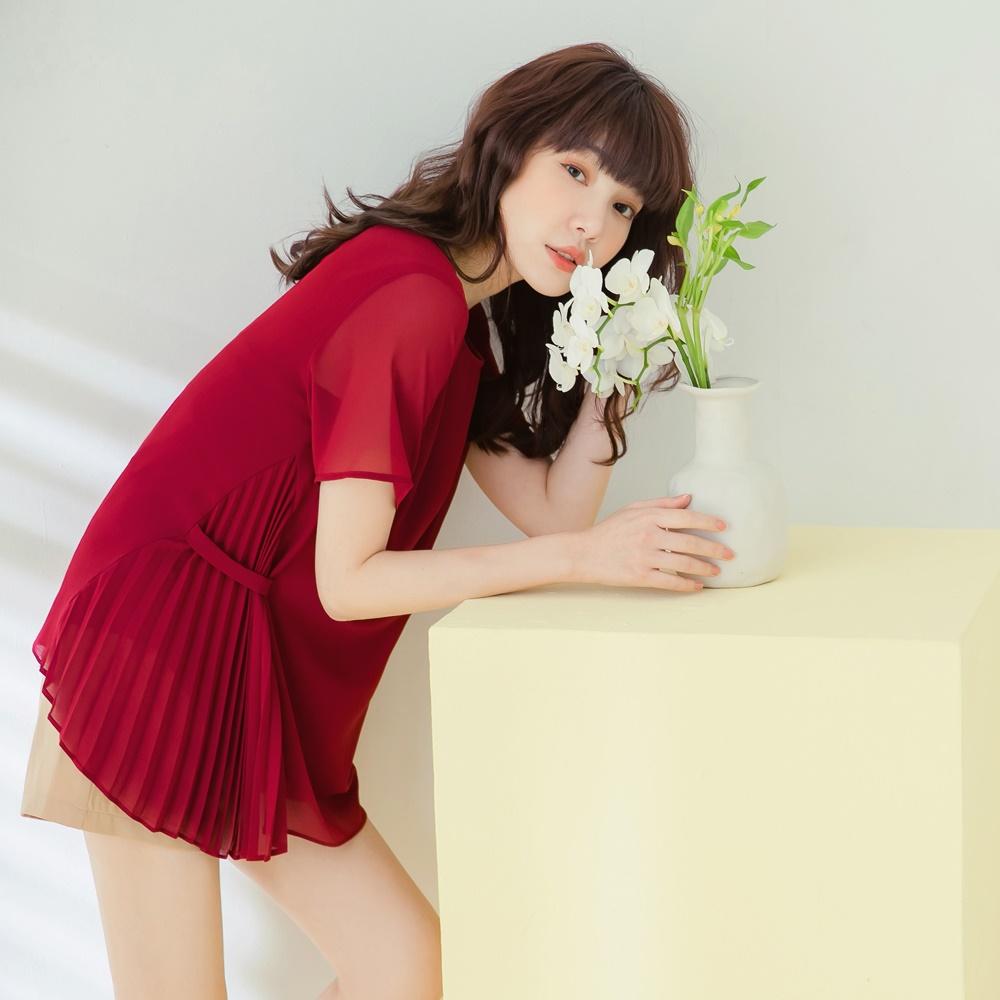 純色質感雪紡壓褶不對稱造型短袖上衣-OB嚴選 product image 1