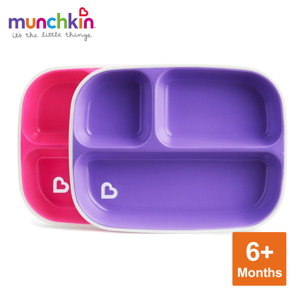 munchkin滿趣健-防滑三格餐盤2入