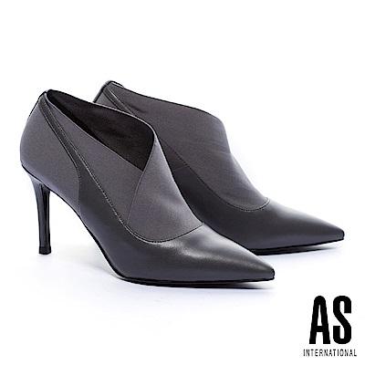 踝靴 AS 率性優雅純色異材質拼接高跟尖頭踝靴-灰