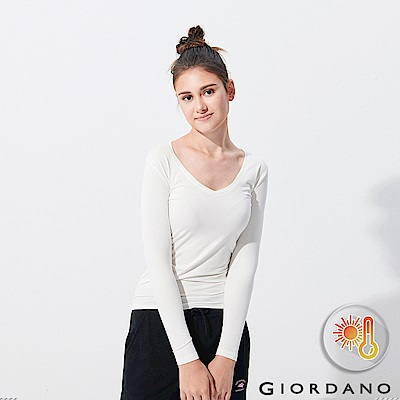 GIORDANO 女款Beau-warmer plus+彈力V領極暖衣-02 白色