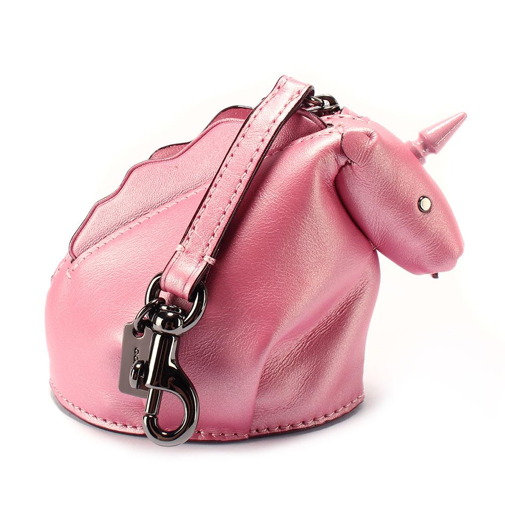 COACH 獨角獸造型金屬皮革吊飾零錢包-粉紅色
