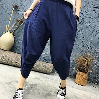 La Belleza素色鬆緊腰側口袋褲管開叉棉麻燈籠褲