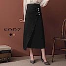 東京著衣-KODZ 顯瘦心機斜排釦開衩窄長裙-S.M.L(共二色)