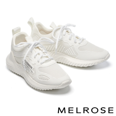休閒鞋 MELROSE 純真輕甜異材質拼接綁帶厚底休閒鞋-白