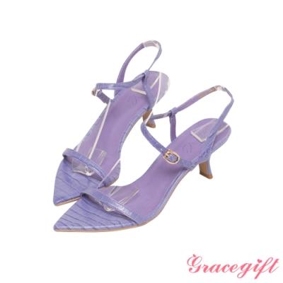 Grace gift X Annie-聯名真皮一字繫踝中跟涼鞋 淺紫