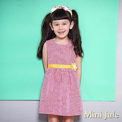 Mini Jule 洋裝 立體花朵造型格紋無袖洋裝(紅 )