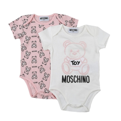 Moschino 粉色泰迪包屁衣兩件禮物組