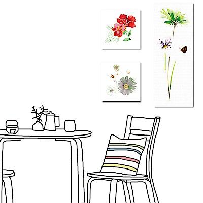 美學365 三聯式方形直幅無框掛畫-花的容貌30x30/30x80cm
