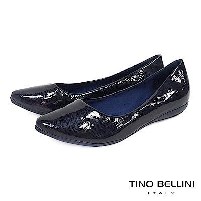 Tino Bellini巴西進口金屬爆裂紋牛漆皮平底娃娃鞋_深藍