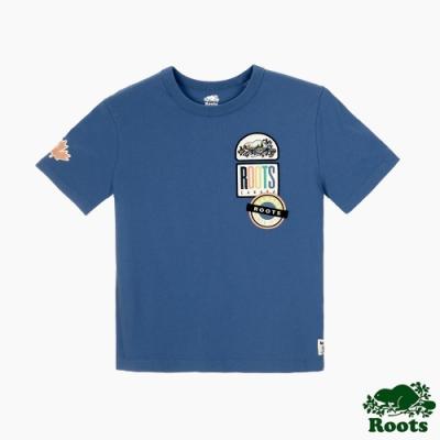 女裝Roots 霓虹貼布不收邊領口短袖T恤-藍色