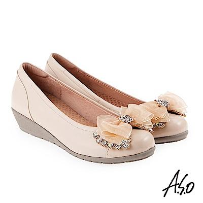 A.S.O 浪漫優雅 全真皮水鑽緞帶蝴蝶結低跟鞋 卡其