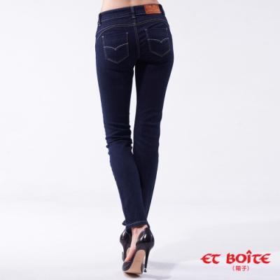 箱子 BLUE WAY - 經典弧線低腰小直筒褲(原生藍)