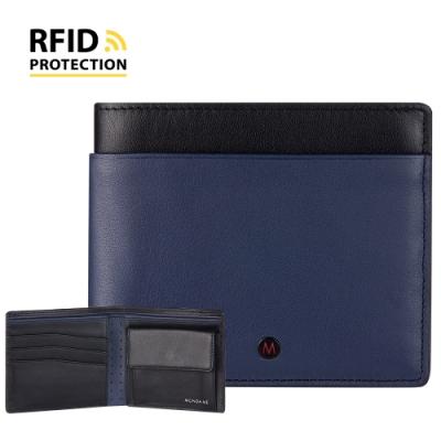 MONDAINE 瑞士國鐵 蘇黎世系列 RFID防盜 8卡零錢包短夾 - 藍