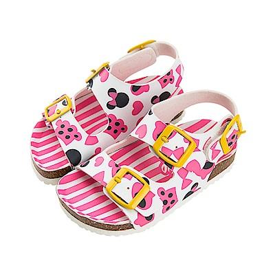 迪士尼童鞋 米妮 條紋休閒涼鞋-桃