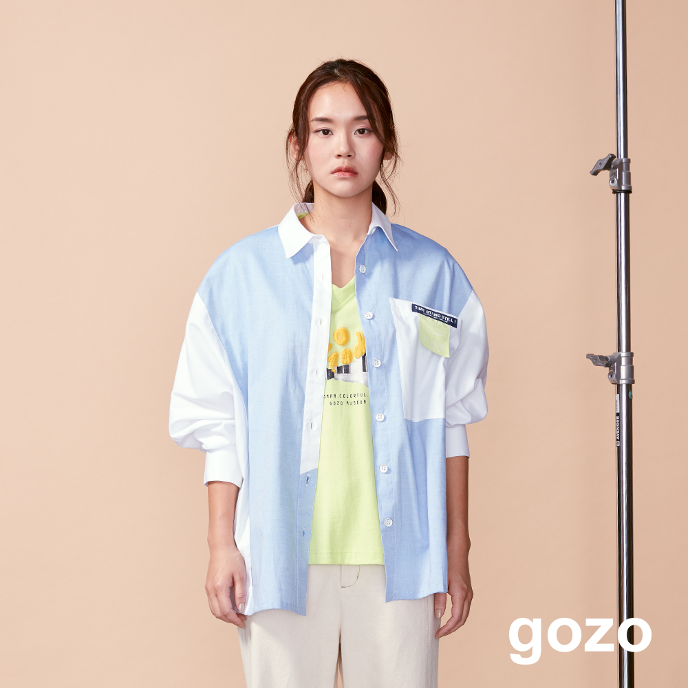 gozo 文青配色造型布標襯衫(二色)