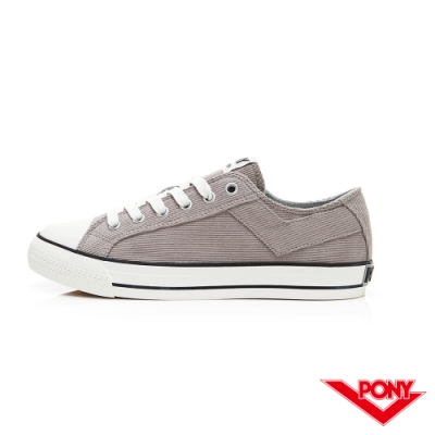 【PONY】Shooter系列燈芯絨鞋面低筒百搭復古帆布鞋 女鞋 灰