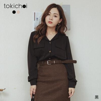 東京著衣 甜心百搭V領雙口袋排釦長袖襯衫(共二色)