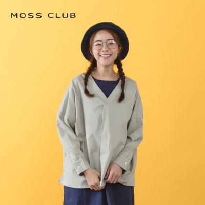 【MOSS CLUB】文青簡約V領舒適-上衣(二色)