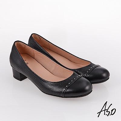 A.S.O 雅緻魅力 職場通勤全真皮鉚釘包鞋 黑