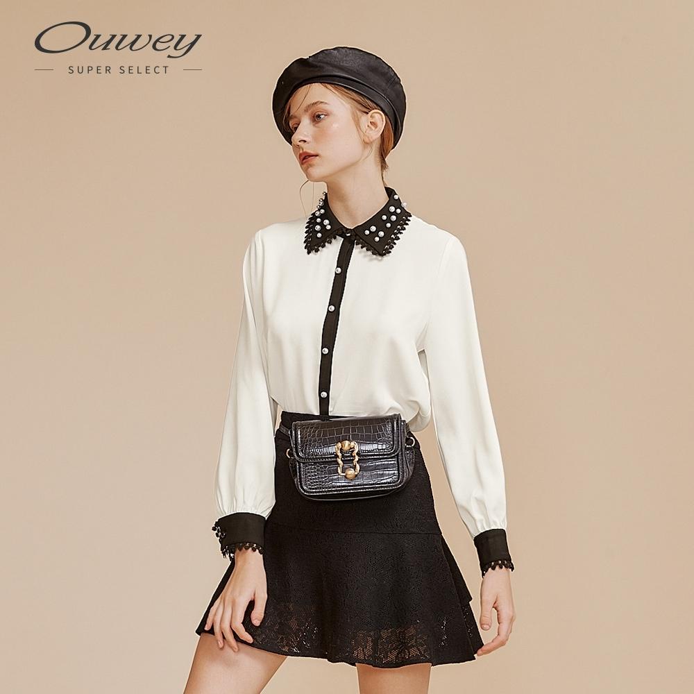 OUWEY歐薇 優雅蕾絲珍珠襯衫(白)