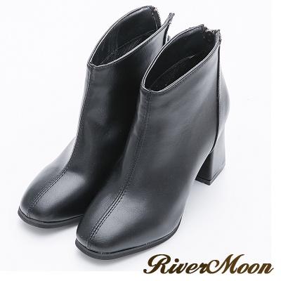 River&Moon短靴-復古方頭素面粗跟短靴-黑