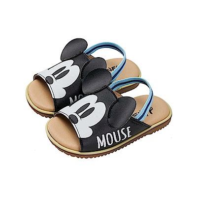 迪士尼童鞋 米奇 立體耳朵手工涼鞋-黑
