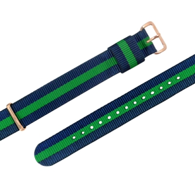 Watchband DW 各品牌通用 時尚撞色 鍍玫瑰金不鏽鋼扣頭 尼龍錶帶-藍x綠