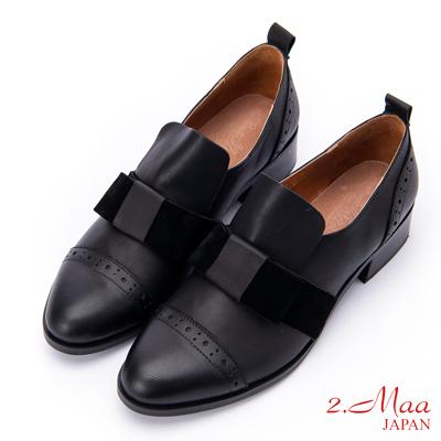 2.Maa (偏大)女神蝴蝶結雕花羊皮紳士跟鞋 - 黑