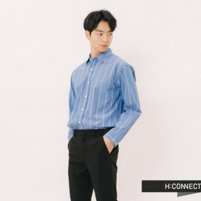 H:CONNECT 韓國品牌 男裝 - 雙色直條紋襯衫-藍