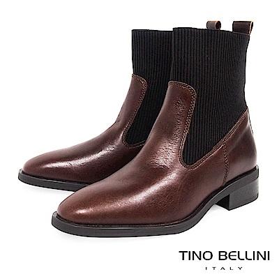 Tino Bellini 義大利進口結構拼接牛皮MIX彈力布低跟短靴 _ 咖