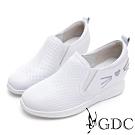 GDC-真皮俏皮貓水鑽沖孔舒飾內增高素色休閒鞋-白色
