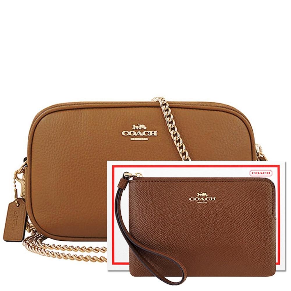 【限量10組】COACH 咖啡色荔枝紋皮革鍊帶雙層斜背包+咖啡色防刮皮革手拿包